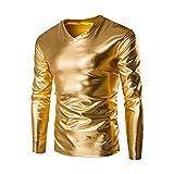 UJUNAOR Luxus Männer Metallisch glänzend Nasses Aussehen Langarm-T-Shirt Top Slim Fit V-Ausschnitt Bluse(EU 2XL/CN 3XL,Gold)