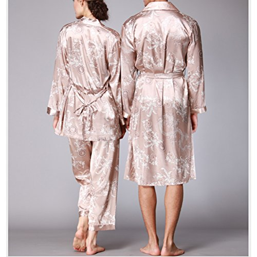 Zhhlaixing Lovers Comfortable Long sleeves Pajamas Nightgown Sexy Silk Sleepwear Camel&Silver