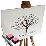 KATINGA Personalisierte Leinwand zur Hochzeit - Motiv KIRSCHBAUM - ALS Gästebuch für Fingerabdrücke (50x40cm, inkl. Stift + Stempelkissen)