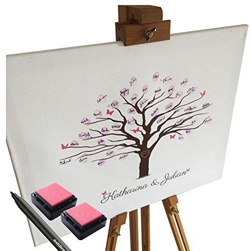 Personalisierte Leinwand zur Hochzeit - Motiv KIRSCHBAUM - als Gästebuch für Fingerabdrücke (50x40cm, inkl. Stift + Stempelkissen) (Tag Datum-stempel)