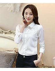 Camiseta mujer otoño/invierno caliente camiseta versión coreana de las camisas de vestido delgado en el extremo de un comodín,4XL,Blanco