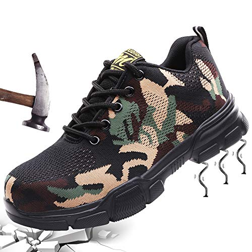 Scarpe Antinfortunistiche Uomo Scarpe da Lavoro Donna con Punta in Acciaio Sneaker da Lavoro Estive Leggere Traspiranti Scarpe da Trekking per all'aperto Verde 42
