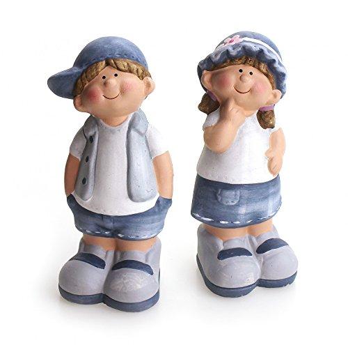 2 x Deko Figur Wichtel Zwerg Mädchen & Junge stehend im Set, aus Keramik grau Steinoptik 20 cm groß, Gartenfigur witzige Figur als Deko Gartendeko