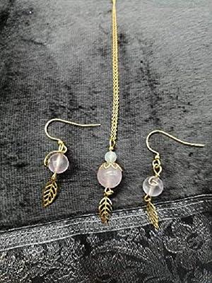 Ensemble Quartz rose, pierre de lune, feuille + chaine plaqué or 24K