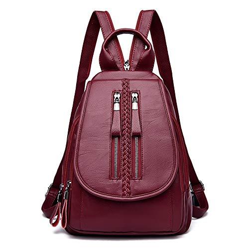 Rucksack vielseitig lässig Flut Rucksack Tasche aus weichem Leder Tasche Mode Damen Reisetasche (Color : Red, Size : One Size) -
