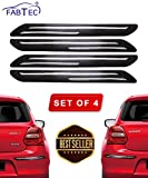 #5: Fabtec Rubber Car Bumper Protector Guard with Double Chrome Strip for Car 4Pcs - Black (Universal)