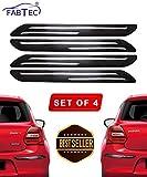 #4: Fabtec Rubber Car Bumper Protector Guard with Double Chrome Strip for Car 4Pcs - Black (Universal)
