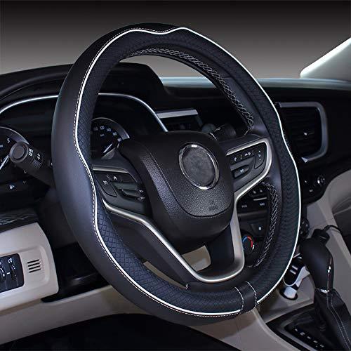 Istn Cubierta de Volante de Cuero de Microfibra 38 cm para la mayoría de los Autos (Blanco Negro)