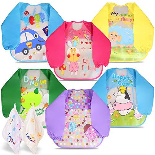 Letilio Baberos - 6 pcs Impermeable delantal de bebé unisexo EVA con manga larga y 2 pcs Toalla para 6 meses a 3 años edad