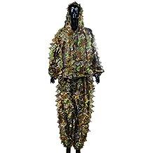 OuYou 3D Hojas Ghillie Suit Bosque Camo Camuflaje Ropa Selva Traje de Caza Escondida Disfrazado Práctico
