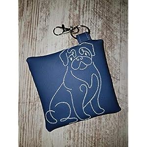 Kotbeutelspender für Hunde Mops aus pflegeleichtem Kunstleder blau