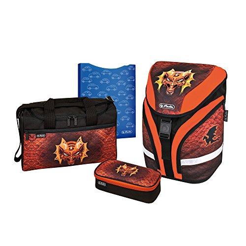 herlitz 50007677 Grundschulrucksack Motion Plus, Magnetschloss, 3M & fluoreszirendes Material, 17-teiliges Stifteetui Motion, Heftbox, Sporttasche, Motiv: Dragon, 1 Stück