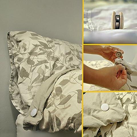 Duvet Dotz - Duvet/Comforter Strong Magnetic Fasteners (Comforter Grips/Duvet Cover Clips/Magnetic Duvet Clip/Duvet Donuts (1 Set or 4 - Enough for 1 Bed))