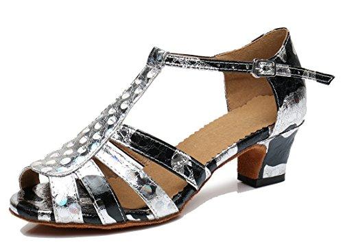 TDA ,  Damen Peep Toes 5cm Heel Silver Black