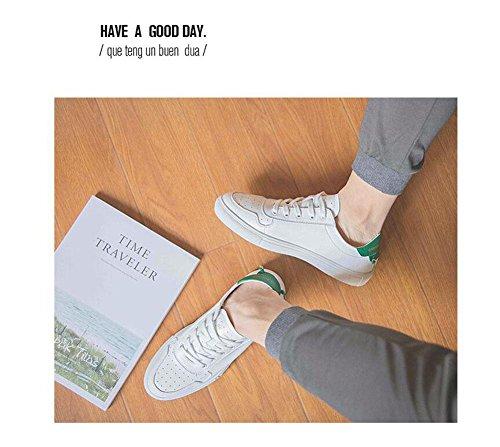 SHIXR Männer Lace-Up Flats Skateboard Schuhe Kleine weiße Schuhe Sommer Hollow Breathable Freizeit Schuhe Driving Schuhe Weiche Leder Schuhe Green