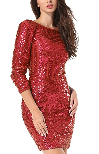 Yidarton Damen Paillettenkleid Langarm Rundhals Backless Partykleid Ballkleid Abend Minikleid (Rot, Medium) - 2