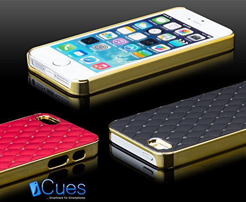 iCues - Apple iPhone SE / 5S / 5 - Cas strass   Chrome Or / Jaune - [Protecteur d'écran inclus] Glitter Glitter Strass luxe bling dames femmes filles cas Chrome peau Couvercle de protection Couvercle  Or / Blanc