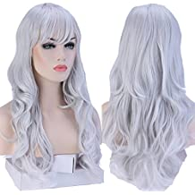 "S-noilite® Fashion Long Hair Full Wigs for Cosplay Halloween Christmas Parties Daily Wig (19""-Curly, Silvery Grey)"