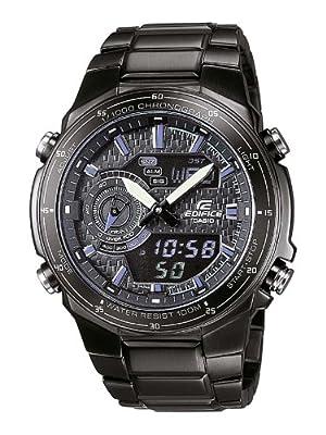 CASIO Edifice EFA-131BK-1AVEF de cuarzo, correa de acero inoxidable color negro (con alarma, luz, cronómetro)