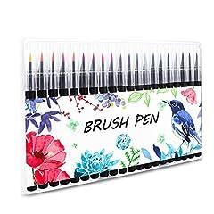 Idea Regalo - Firbon 20 colori Watercolor Brush Pen Set con Vera Punta a Pennello adatti alla calligrafia inchiostri colorati ottimi per manga, per colorare, per designer, creare effetti acquerellati, disegnare fumetti