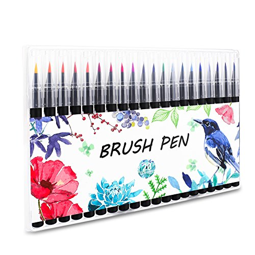Firbon 20pcs Pinselstifte Aquarelles Pinselset Zeichenset Brush Pen Set Wassеrtankpinsеl Stifte für Malen Zeichnen