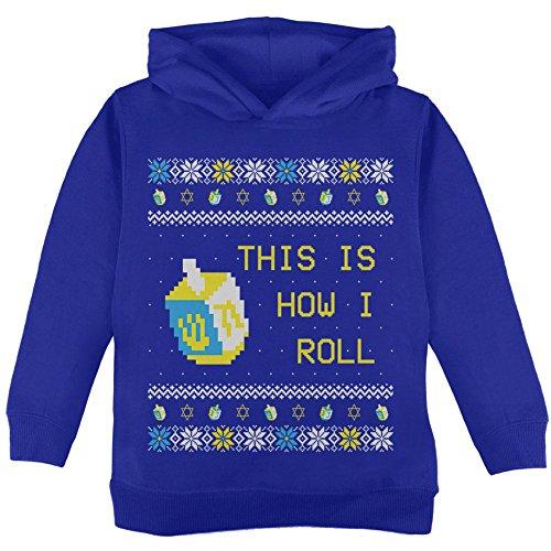 Chanukka Dies ist, wie ich Roll Dreidel hässlich Weihnachten Pullover Kleinkind Hoodie Royal 4T
