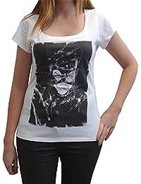 Catwoman, tee shirt femme, imprimé célébrité,Blanc, t shirt femme,cadeau