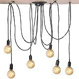 Cocoarm 6 Kopf Spinne Kronleuchter, DIY Decke Spider Lampe, Retro Industry Ceiling Light, DYI Vintage Pendelleuchte, Speisesaal Schlafzimmer Hotel Dekoration