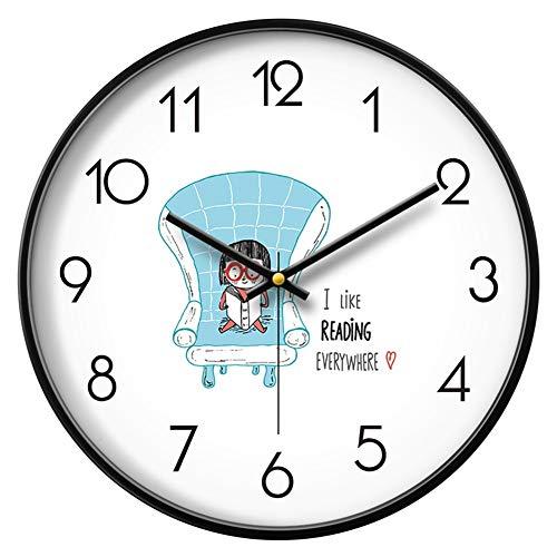 &orologi da parete Orologio da parete Cameretta per ragazzi Silenziosa, non ticinese Cartone animato a batteria Cartone animato decorativo da lettura, libro, camera da letto, bordo sottile, cornice in