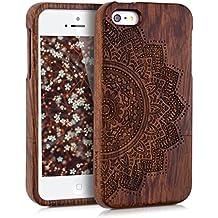 kwmobile Funda para Apple iPhone SE / 5 / 5S - Case protectora de madera palo de rosa - Carcasa dura Diseño flor mitad en marrón oscuro