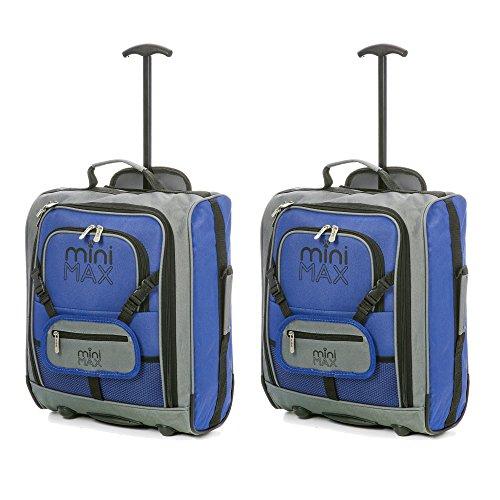 MiniMax Kinderkoffer Reisekoffer Trolley Handgepäck Rucksack mit Vordertasche für Spielzeugen/Puppen/ Teddybär (Blau x2)