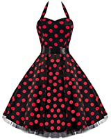 50s Large Red Polka Dot Black Rockabilly Swing Prom Pin-Up Dress - NOW AVAILABLE UP TO SIZE 26!!