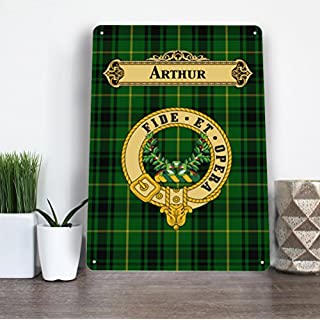 Artylicious Scottish Clan Arthur Family Tartan Metallschild A4