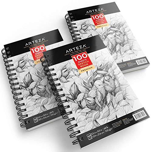 ARTEZA Cuadernos de dibujo | Pack de 3 blocs en espiral de doble anilla | 100 hojas cada uno | Papel grueso para bocetos | Tamaño 13,9 x 21,6 cm | Grosor 100 gsm | Sin ácidos | Blanco brillante