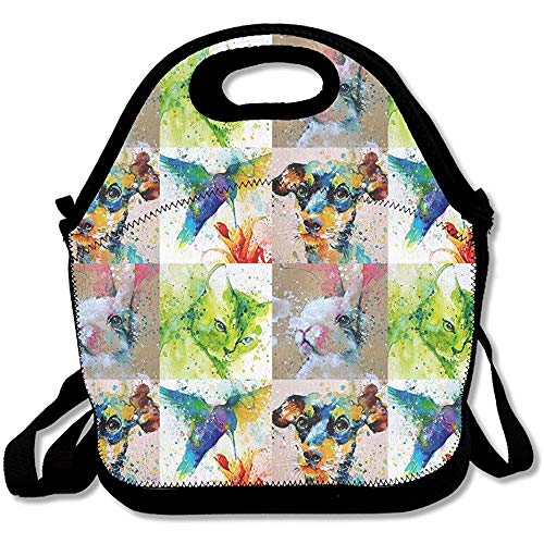 Splashed Watercolour Energy Of Birds Boom Lunch Bag Tote Handbag Lunchbox For School Work Outdoor 11x11x5.5 Inch