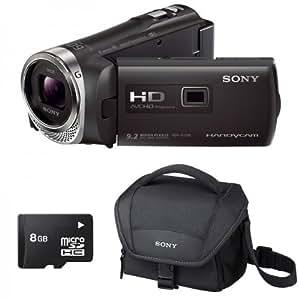 Sony HDR-PJ330E Noir + LCS-U11 + Carte SD 8 Go - Caméscope Full HD Mémoire flash avec projecteur intégré + Housse + Carte SD