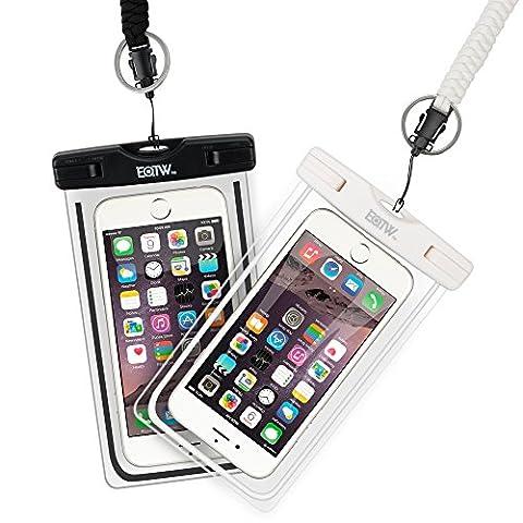 [Pack de 2] EOTW Housse étanche, Certifiée IPX8 pour Téléphone de taille égale et inférieure à 6'', argent, écran solaire bâton, carte/ID etc, idéal pour natation, la plage, pêche, la randonnée (Blanc+ Noir)