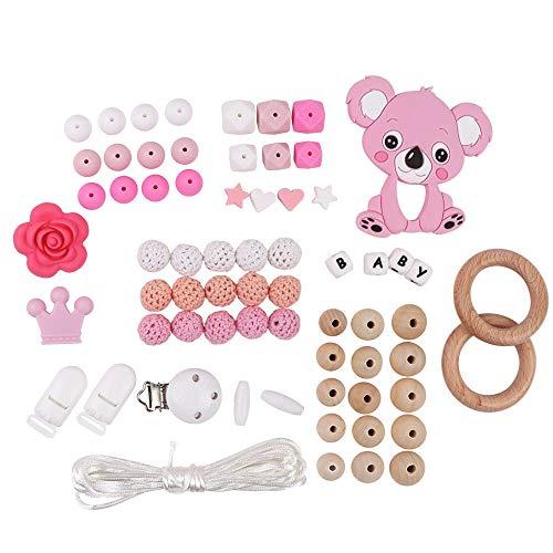 Silikonperlen Schnullerkette Selber Machen Baby Spielzeug Zahnen Silikon Perlen Beißring Diy Silikon-Perlen-Kit DIY-Dummy-Clips Holzperlen Kinderkrankheiten Halskette Armband(Pink)