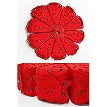 takestop® SET 10 PEZZI BOMBONIERA BOMBONIERE SCATOLINA spicchio TORTA rosso  fiore PORTACONFETTI PORTA CONFETTI COMUNIONE 6552b974c80d