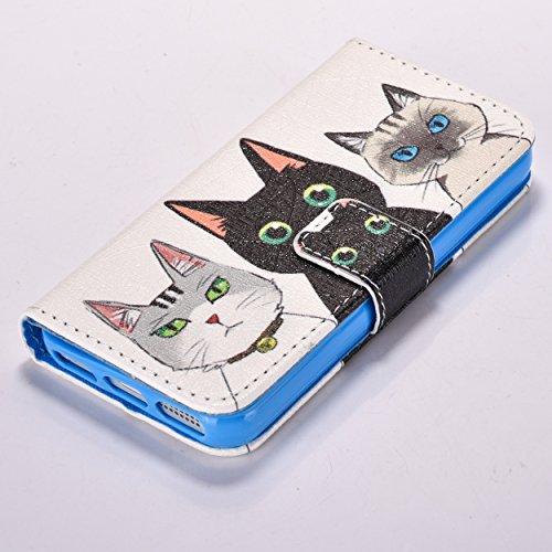 iPhone SE Hülle iPhone 5s Hülle iPhone 5 Hülle, Cozy Hut Handyhülle iPhone SE / 5 / 5S , PU Leder Tasche Hülle Schutzhülle Case Magnetverschluss Telefon-Kasten Handyhülle Standfunktion mit Kartenfach  Drei Katzen