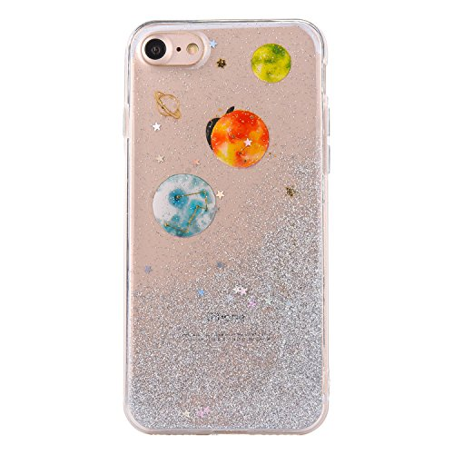 CrazyLemon Hülle für iPhone 6 / iPhone 6S, 3D Schön Epoxy-Prozess Bling Funkeln Grün Sternenhimmel Galaxis Orange Star Mond Planet Weich TPU Hülle für iPhone 6 iPhone 6S - Orange