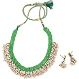 Fashionvalley Green Jeko Moti Kundan Necklace and Earrings for Women and Girls