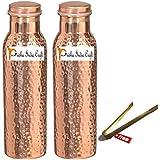 900 ml/30 oz - Set de 2 - artesanía india Prisha ® Traveller's Puro cobre la botella de agua o termo Ayurveda Beneficios de salud, botellas de agua de regalo de Navidad