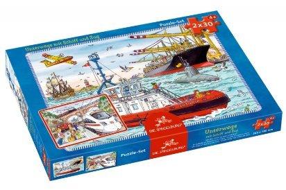 Puzzle Set 2x30 Teile Unterwegs mit Schiff und Zug 11424 von Spiegelburg