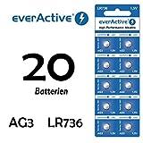 NEMT 20 X Everactive AG3 - LR41 - LR736 - L736 - S736 Knopfzelle Uhrenbatterie 1,5 V