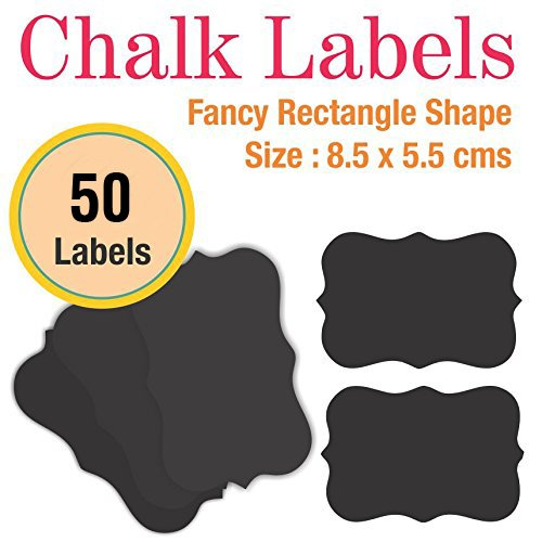 MFM TOYS Fancy Rectangle Shaped Black Chalkboard Stickers (Pack of 50)
