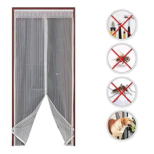Magnetische bildschirmtür Schwerer netzvorhang Haustier und kinderfreundlich full-frame-siegel fliegen mücken bug insektenschutz für schiebetüren glas französischen terrasse-Weiß 110x220cm(43x87inch) -