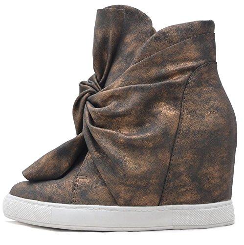 Vain Secrets Sneaker-Wedges in Schwarz oder Silber mit verstecktem Keilabsatz (37, Bronze) (Secret Wedge Sneakers)