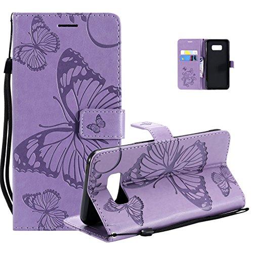 Vectady für Samsung Galaxy Note 8 Hülle, Handyhülle Flip Case Cover Schutzhülle Tasche Hüllen Leder Handytasche Magnet Geldbörse Klapphülle für Samsung Galaxy Note 8,Lila -