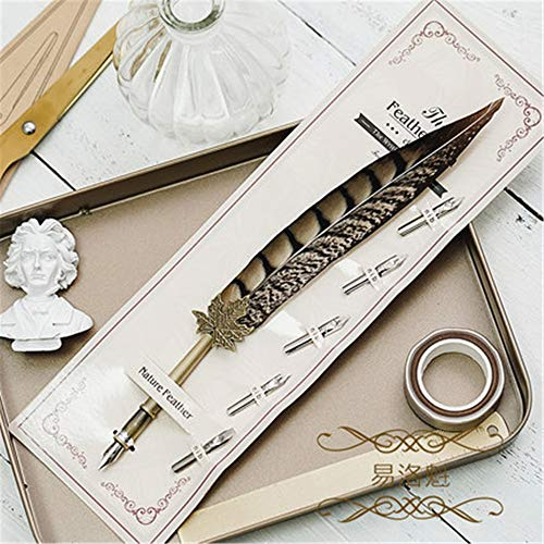 Antica penna piuma Dip pen penna, penna d'oca penna calligrafica + supporto + 5 pezzi di pennino sostituibile 26,8 cm
